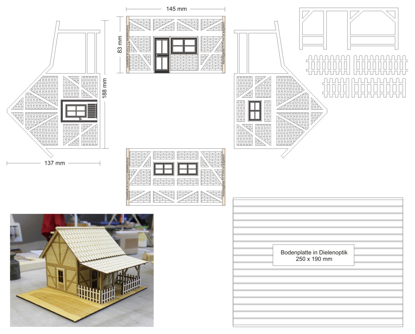 Bauplan Fachwerkhaus modellbau veranda